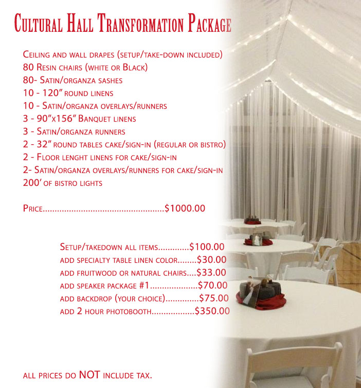 Cultural Hall Transformation Package